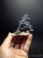 A twin-trunk wire bonsai tree by Ken To by KenToArt
