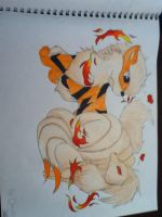 Archinine and Ninetails drawing by SkyeAngel-gone-Rouge