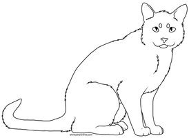 Sitting Cat Lineart by drunkdrawings
