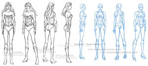 Model sheet of Wonder Woman and a Woman by superhomme