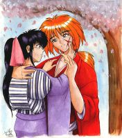 Kaoru and Kenshin in colour by nalina