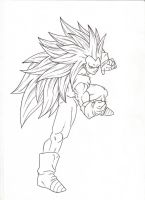 SSj3 Fighting Pose. :Sketch: by moxie2D