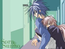 Sora and Sunao hugging by Jessye