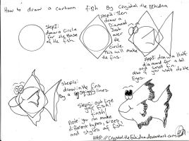 how to draw a cartoon fish :3 by CrystaltheEchidna