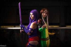 Psylocke and Rouge by lynlunnar