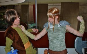 Astrid VS Hiccup fight by blondewolf2