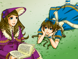 Alice and Lorina Liddell by ToxisGrey