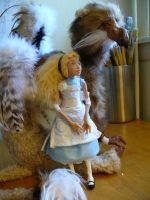 The Gryphon and Alice by mammalfeathers