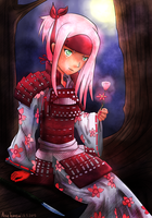 Samurai Sakura in the Moonlight by attisalatti