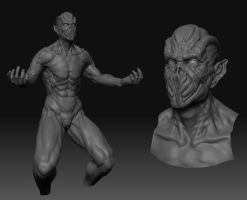 alien conept sculpt WIP by 1806