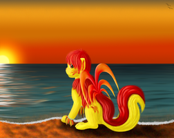 Lapping Waves in the Sunset by o-Pirate-o