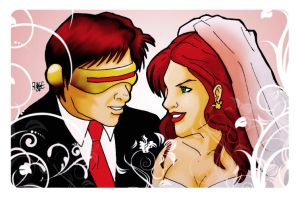 Cyclops and Phoenix Wedding by kikegalvan