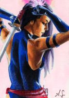 Psylocke Sketch Card by AllisonSohn