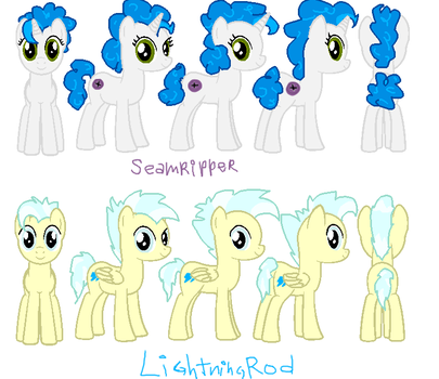 reference sheet poses: LightningRod and Seamripper by MTMissyCat