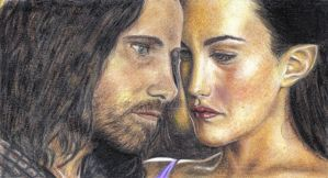 Aragorn and Arwen -TTT- by riansart