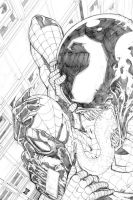Pinup Spiderman vs Venom by mmorazzo