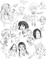 Harry Potter Doodles 3 by CrystallineColey