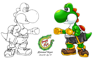 Yoshi Boxer Round 2 (Lineart) by Dyz-69