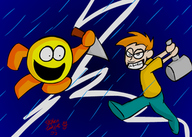 MrHappy Face VS Maxwell Edison by Bogswallop