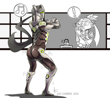 Bubble butt - Genji and Hanzo Overwatch commission by BaGgY666