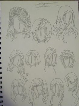 Anime Hair Styles Sketches by LightPhyre