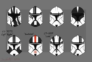 Clone-trooper helmet designs -Phase 1- by CorNocte