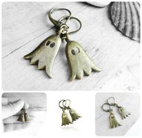 Antique Bronze Ghost Charm Dangle Earrings by crystaland