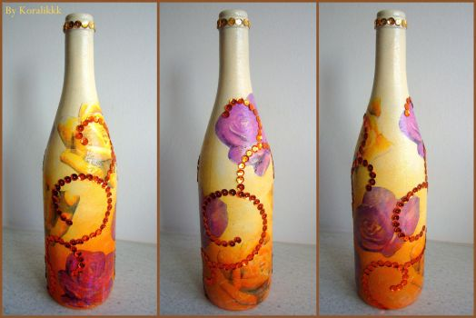 Orange bottle with flowers by Koralikkk