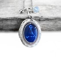 Constellation Pisces Resin Oval Locket Necklace by crystaland
