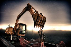 Track Hoe in the Fog by DARRYL-SMITH