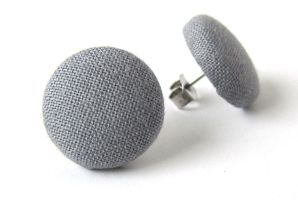 Stud earrings gray grey simple fabric covered by KooKooCraft