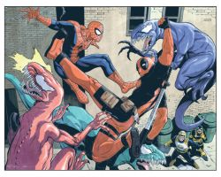 Spider-man and Deadpool by antalas