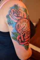 old school rose and old watch girl color tattoo by Marleytattooart