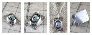 Sterling Silver Lampwork Cabochon Pendant Link by DryGulchJewelry