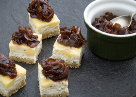 Cream Cheese, Cheddar and Onion Chutney Canapes by iconsPhotography