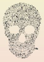 Assorted Crosses Skull by blueplasticbag