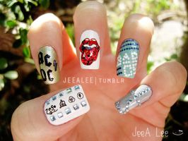 Rock Band Nails by jeealee