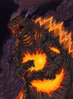 Burning Godzilla by Sakitaro