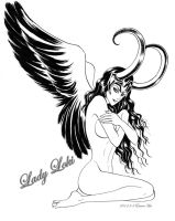Nude Lady Loki with black wings by beckpage