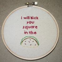 Taco Embroidery by kiddomerriweather