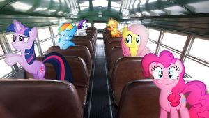 Mane 6 On A Bus by Macgrubor