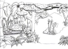 Tiki Jungle bw by AlmightyOracle