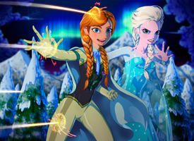 Kryptonian Anna and Elsa by fradarlin