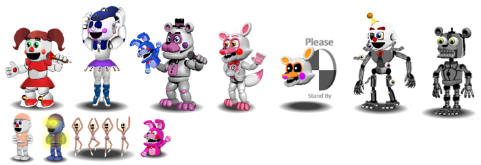 Fnaf Sister Location Adventure Characters by Educraft