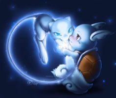 Shiny Mew and Wartortle