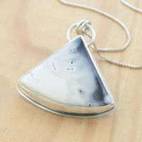 Dendritic Opal Pendant with Secret Stars by metalsmitten