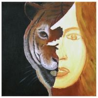 Tiger versus woman by marjol3in