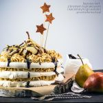 meringue cake with butterscotch frosting and pears by Pokakulka