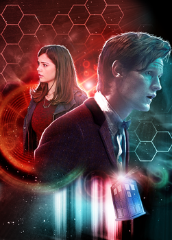 The Eleventh Doctor and Clara Oswald by Esterath13