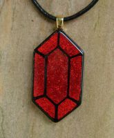 LoZ Red Rupee Fused Glass by FusedElegance